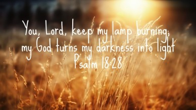 You, lord, keep my lamp burning; my god turns my darkness into lightpsalm 18:28