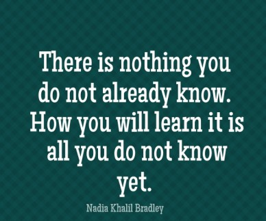 There is nothing you do not already know. how you will learn it is all you do not know yet. nadia khalil bradley