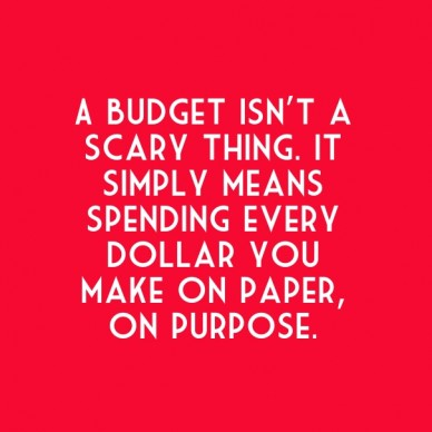 A budget isn't a scary thing. it simply means spending every dollar you make on paper, on purpose.