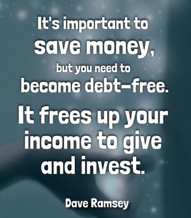 It's important to save money,but you need to become debt-free. it frees up your income to give and invest. dave ramsey