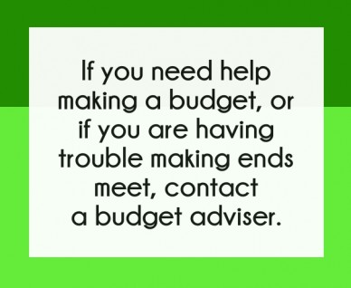 If you need help making a budget, or if you are having trouble making ends meet, contact a budget adviser.