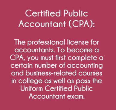 Certified public accountant (cpa): the professional license for accountants. to become a cpa, you must first complete a certain number of accounting and business-related cours