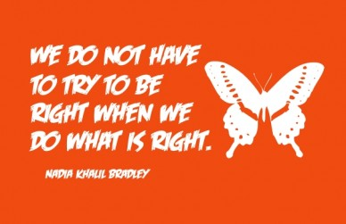 We do not have to try to be right when we do what is right. nadia khalil bradley