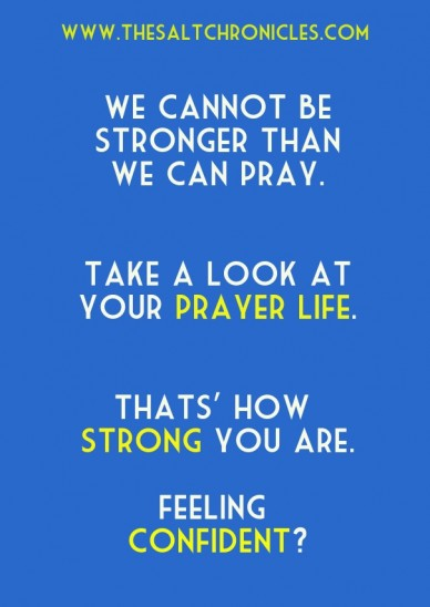 We cannot be stronger than we can pray. take a look at your prayer life. thats' how strong you are. feeling confident? www.thesaltchronicles.com