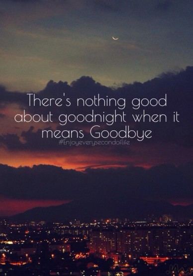 There's nothing good about goodnight when it means goodbye #enjoyeverysecondoflife