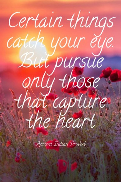 Certain things catch your eye. but pursue only those that capture the heart ancient indian proverb