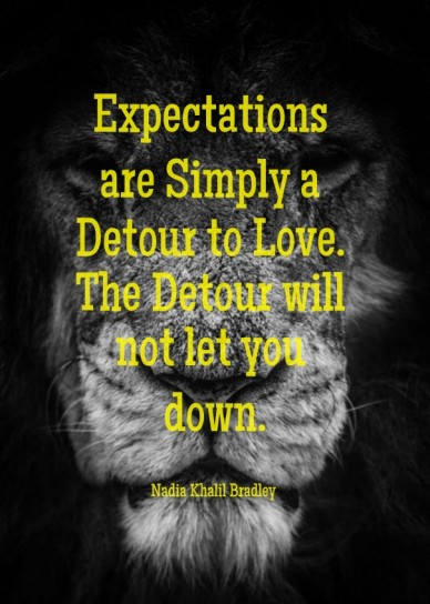 Expectations are simply a detour to love. the detour will not let you down.nadia khalil bradley