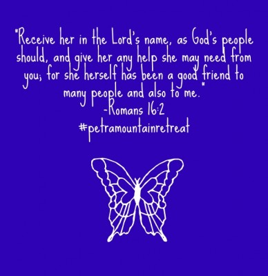 """""""receive her in the lord's name, as god's people should, and give her any help she may need from you; for she herself has been a good friend to many people and also to me."""" -r"""
