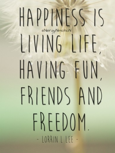 Happiness is living life, having fun, friends and freedom. - lorrin l lee - energynmotion
