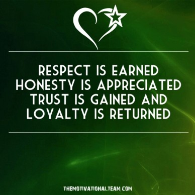Respect is earned honesty is appreciated trust is gained and loyalty is returned themotivationalteam.com