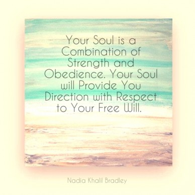 Your soul is a combination of strength and obedience. your soul will provide you direction with respect to your free will. nadia khalil bradley