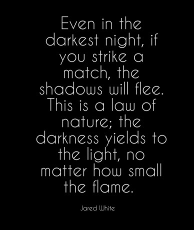 Even in the darkest night, if you strike a match, the shadows will flee. this is a law of nature; the darkness yields to the light, no matter how small the flame. jared white