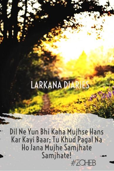 Dil ne yun bhi kaha mujhse hans kar kayi baar; tu khud pagal na ho jana mujhe samjhate samjhate! #zoheb larkana diaries