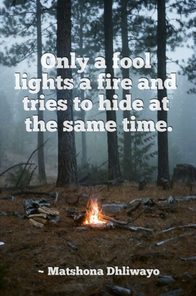 Only a fool lights a fire and tries to hide at the same time. ~ matshona dhliwayo