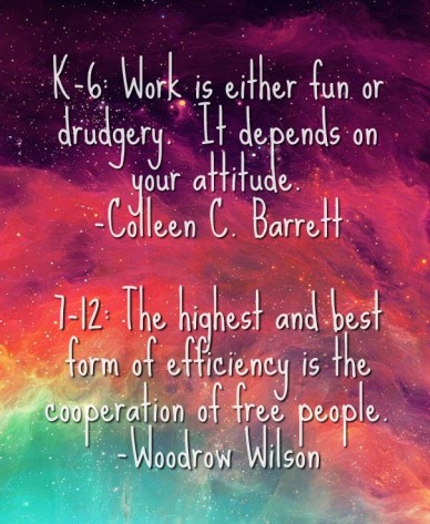 K-6: work is either fun or drudgery. it depends on your attitude. -colleen c. barrett 7-12: the highest and best form of efficiency is the cooperation of free people.-woodrow