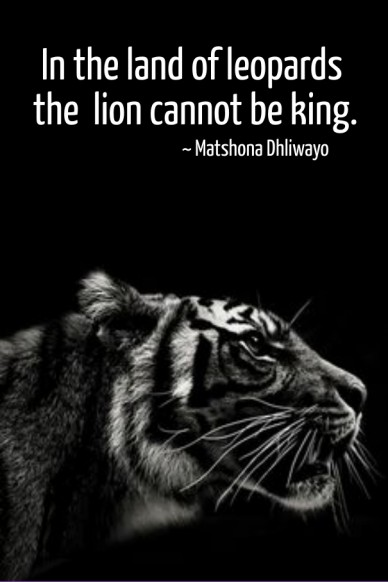 In the land of leopards the lion cannot be king. ~ matshona dhliwayo
