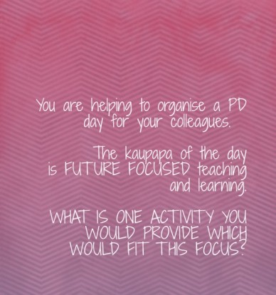 You are helping to organise a pd day for your colleagues. the kaupapa of the day is future focused teaching and learning. what is one activity you would provide which would fi