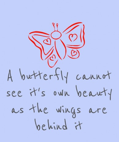 A butterfly cannot see it's own beauty as the wings are behind it