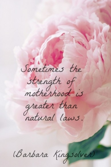 Sometimes the strength of motherhood isgreater than natural laws. (barbara kingsolver)