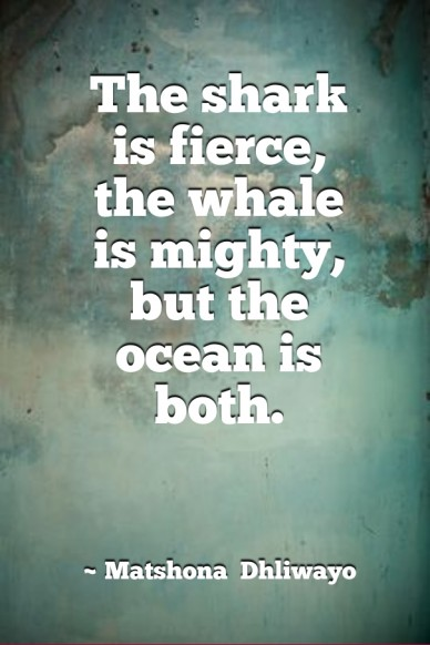 The shark is fierce, the whale is mighty,but the ocean is both. ~ matshona dhliwayo