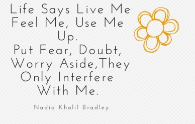 Life says live mefeel me, use me up. put fear, doubt, worry aside,they only interfere with me. nadia khalil bradley