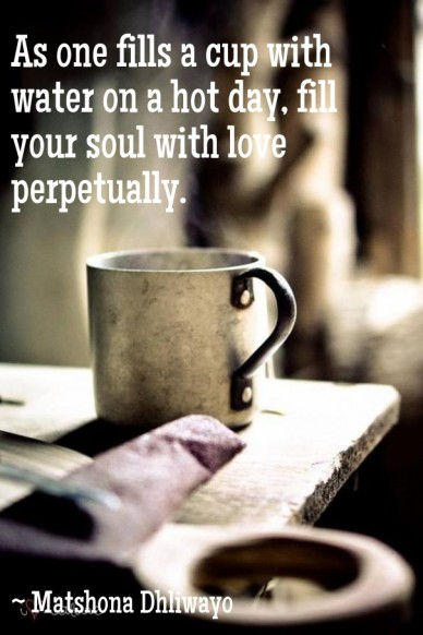 As one fills a cup with water on a hot day, fill your soul with love perpetually. ~ matshona dhliwayo
