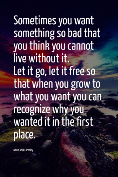 Sometimes you want something so bad that you think you cannot live without it. let it go, let it free so that when you grow to what you want you can recognize why you wanted i