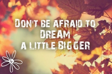 Don't be afraid to dream a little bigger