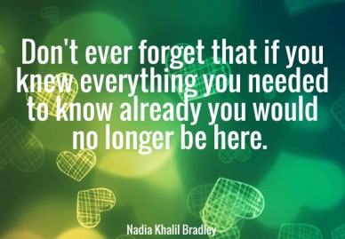Don't ever forget that if you knew everything you needed to know already you would no longer be here. nadia khalil bradley