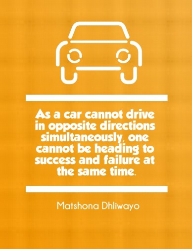 As a car cannot drive in opposite directions simultaneously, one cannot be heading to success and failure at the same time . matshona dhliwayo