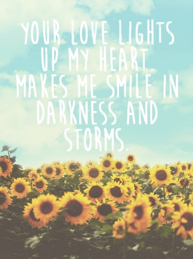 Your love lights up my heart. makes me smile in darkness and storms. napolean hill
