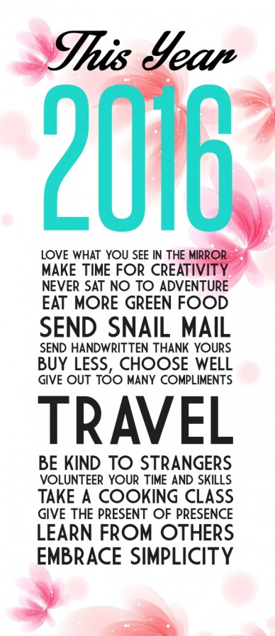This year 2016 love what you see in the mirror make time for creativitynever sat no to adventureeat more green foodsend snail mailsend handwritten thank yoursbuy less, choose