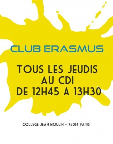 Tous les jeudis au cdi de 12h45 a 13h30 club erasmus college jean moulin - 75014 paris
