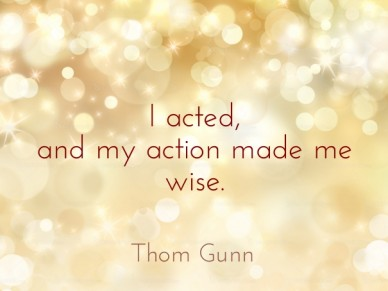 I acted, and my action made me wise. thom gunn
