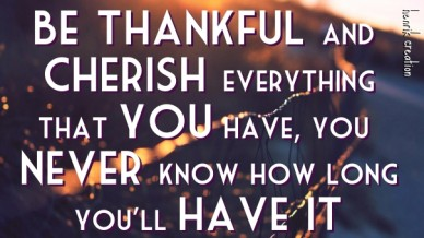 Be thankful and cherish everything that you have, you never know how long you'll have it henrik creation
