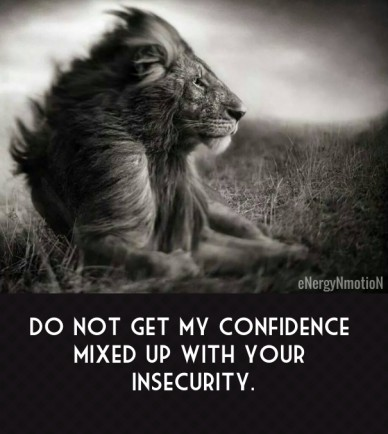 Do not get my confidence mixed up with your insecurity. energynmotion