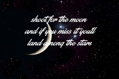 Shoot for the moon and if you miss it you'llland among the stars