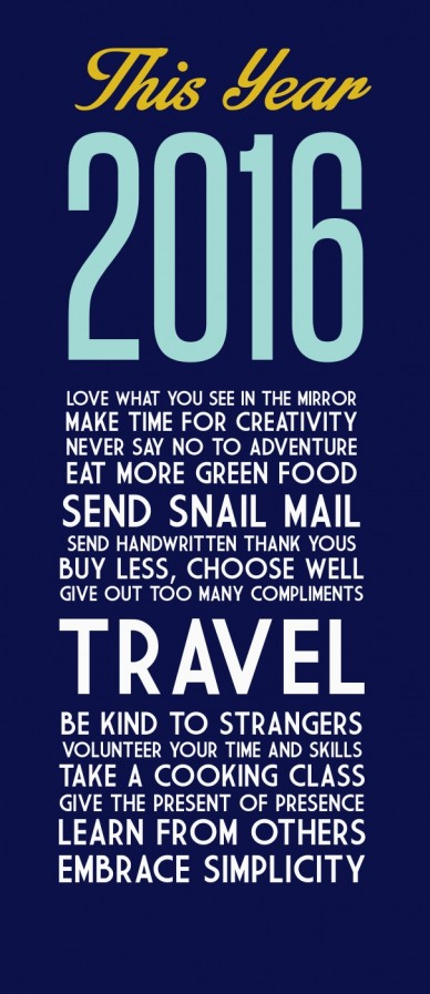 This year 2016 love what you see in the mirror make time for creativitynever say no to adventureeat more green foodsend snail mailsend handwritten thank yousbuy less, choose w