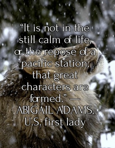 """it is not in the still calm of life, or the repose of a pacific station, that great characters are formed."" —abigail adams, u.s. first lady"