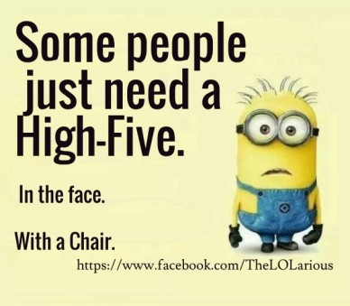 Some people just need a high-five. in the face.with a chair. https://www.facebook.com/thelolarious