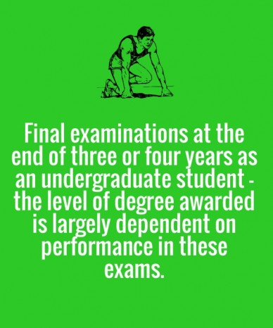 Final examinations at the end of three or four years as an undergraduate student – the level of degree awarded is largely dependent on performance in these exams.