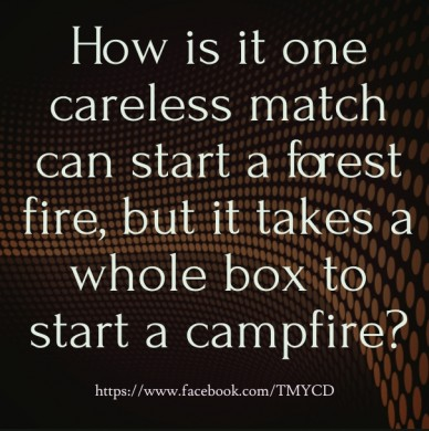 How is it one careless match can start a forest fire, but it takes a whole box to start a campfire? https://www.facebook.com/tmycd