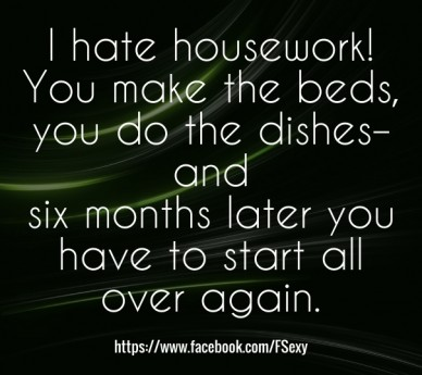 I hate housework! you make the beds, you do the dishes–and six months later you have to start all over again. https://www.facebook.com/fsexy