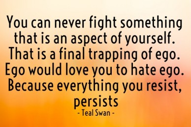 You can never fight something that is an aspect of yourself. that is a final trapping of ego. ego would love you to hate ego. because everything you resist, persists - teal sw