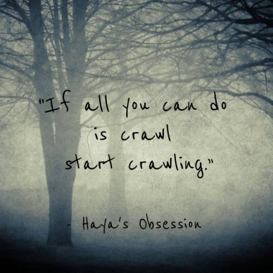 """if all you can do is crawl start crawling."" - haya's obsession"