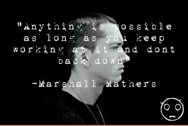 """""""anything is possible as long as you keep working at it and dont back down"""" -marshall mathers"""