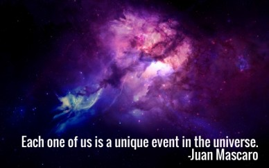 Each one of us is a unique event in the universe. -juan mascaro