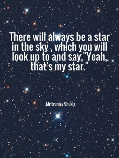 "There will always be a star in the sky , which you will look up to and say,""yeah, that's my star."" mrityunjay shukla"
