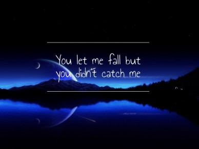 You let me fall but you didn't catch me