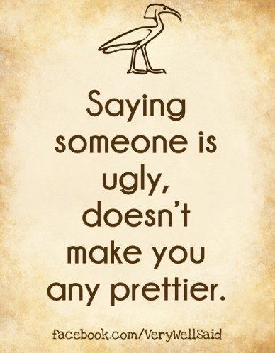 Saying someone is ugly, doesn't make you any prettier. facebook.com/verywellsaid